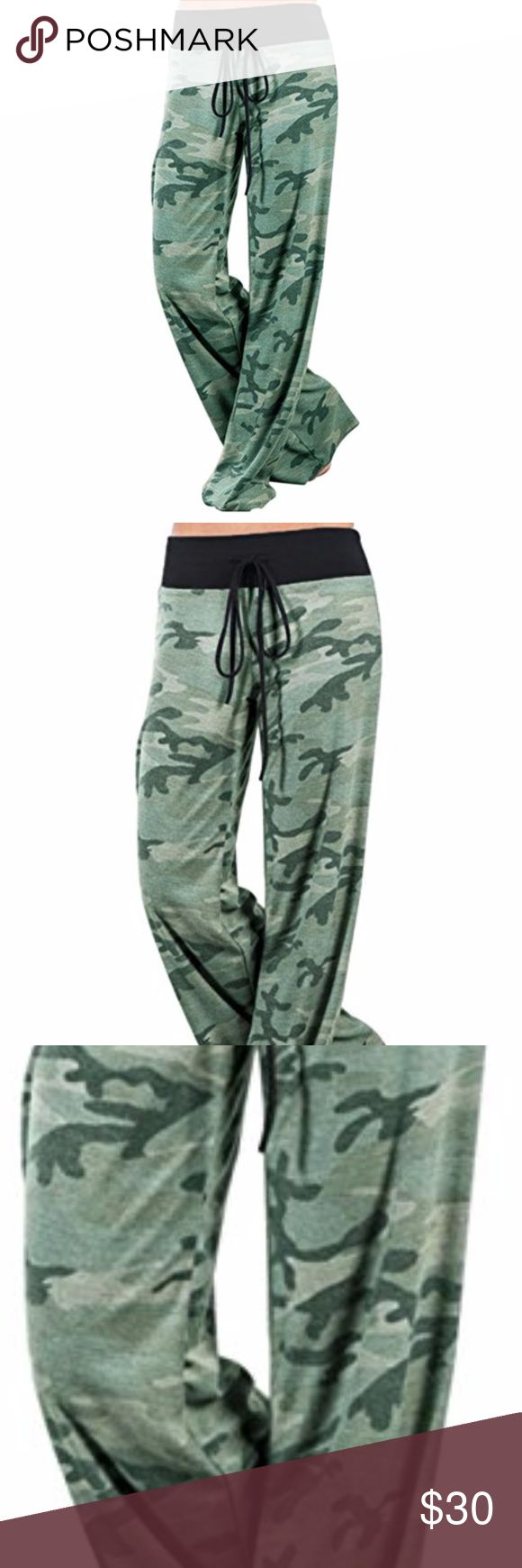 Palazzo Camouflage Printed Drawstring Trousers comfy,chic,wide leg pants,high waisted, floral pattern and adjustable drawstring waistband for added comfort  Material:85% Polyester 15% Cotton Jeans Flare & Wide Leg