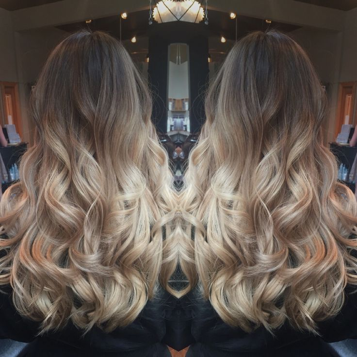 Balayage color melt ombré light brown to blonde