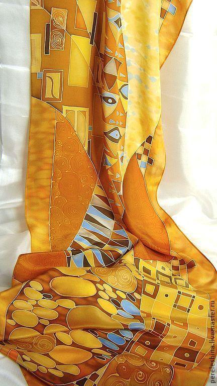 """Купить Шарф холодный батик """"Вдохновляясь Климтом """" - золотой цвет, желтый золотой, рыжий"""