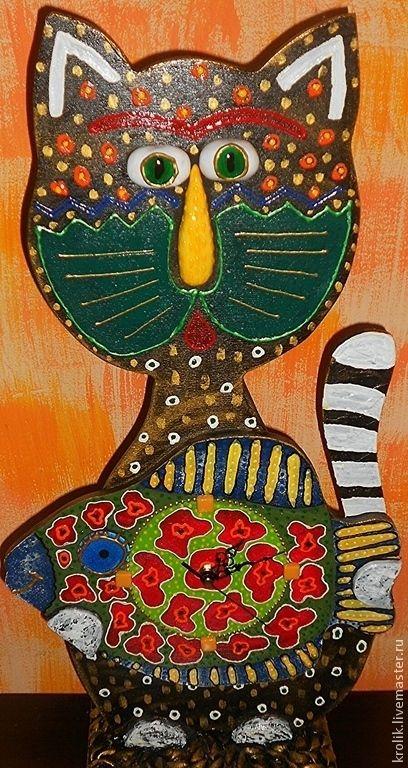 """Купить Настольные часы """"Кот Васька и рыбка"""". - кот, кошка, часы, настольные часы"""