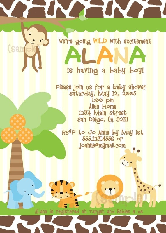 176 best baby shower invites images on pinterest | jungle baby, Baby shower invitations