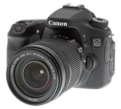 Canon 70D review -- Front quarter view