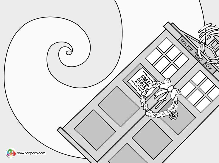 How to paint the tardis coloring page for the doctor who for Tardis coloring pages