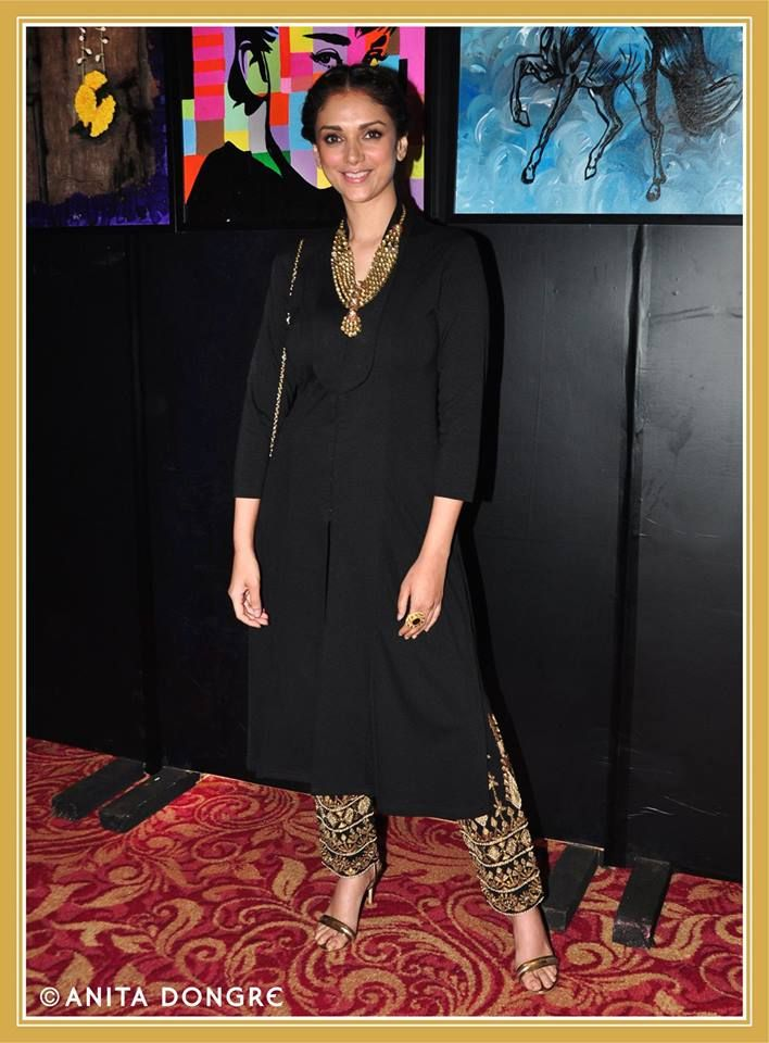 Aditi Rao Hydari in a jacket and trouser set from the Anita Dongre, LFW Winter/Festive 2014 collection.