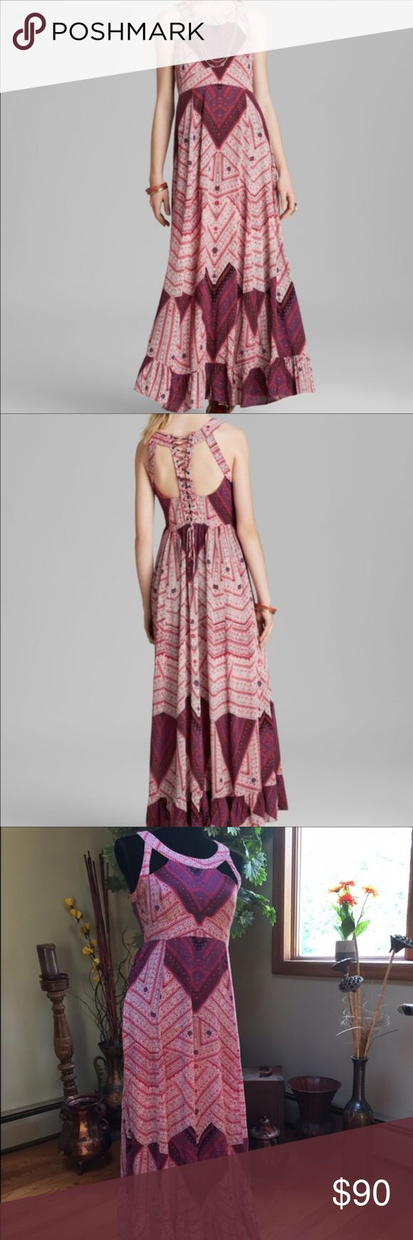 Free people Maxi Dress Super cute Maxi dress worn a handful of time. In great condition. Free People Skirts Maxi