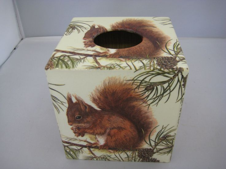 Squirrel  Tissue Box Cover wooden handmade by crackpotscrafts on Etsy