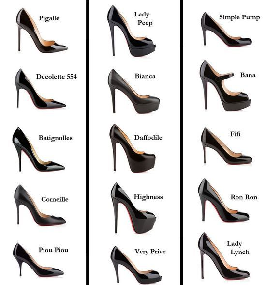 There's a name for every heel even if it looks almost identical. There's no such thing as just a plain black pump/stiletto!?!