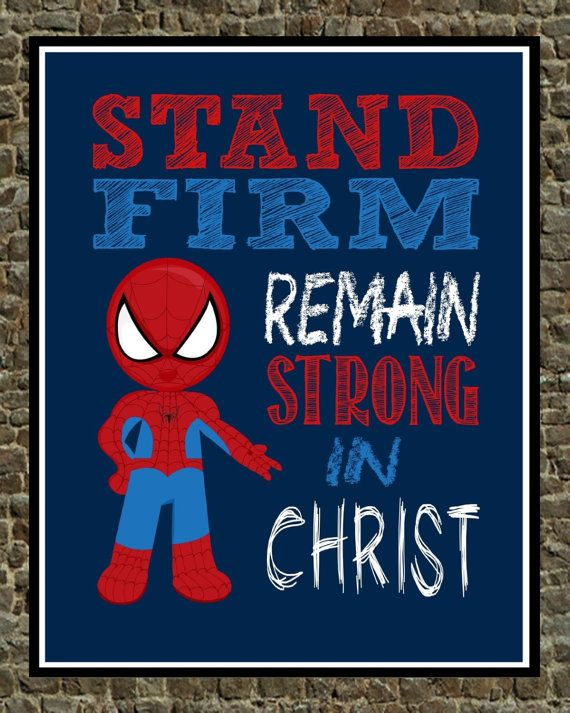 Thanks For Checking Out My Shop!!  Christian Super Hero print  These fun comic style art prints are great for your budding superhero boy or girl! If you love Spiderman, then these art prints are just for you! All of our prints are printed on a professional printer using quality paper PIXMA ink. They are NOT FRAMED. They will fit any standard size frame. Please note that colors may vary slightly from what you see on your screen, as monitors reflect all colors differently. Items are shipped…