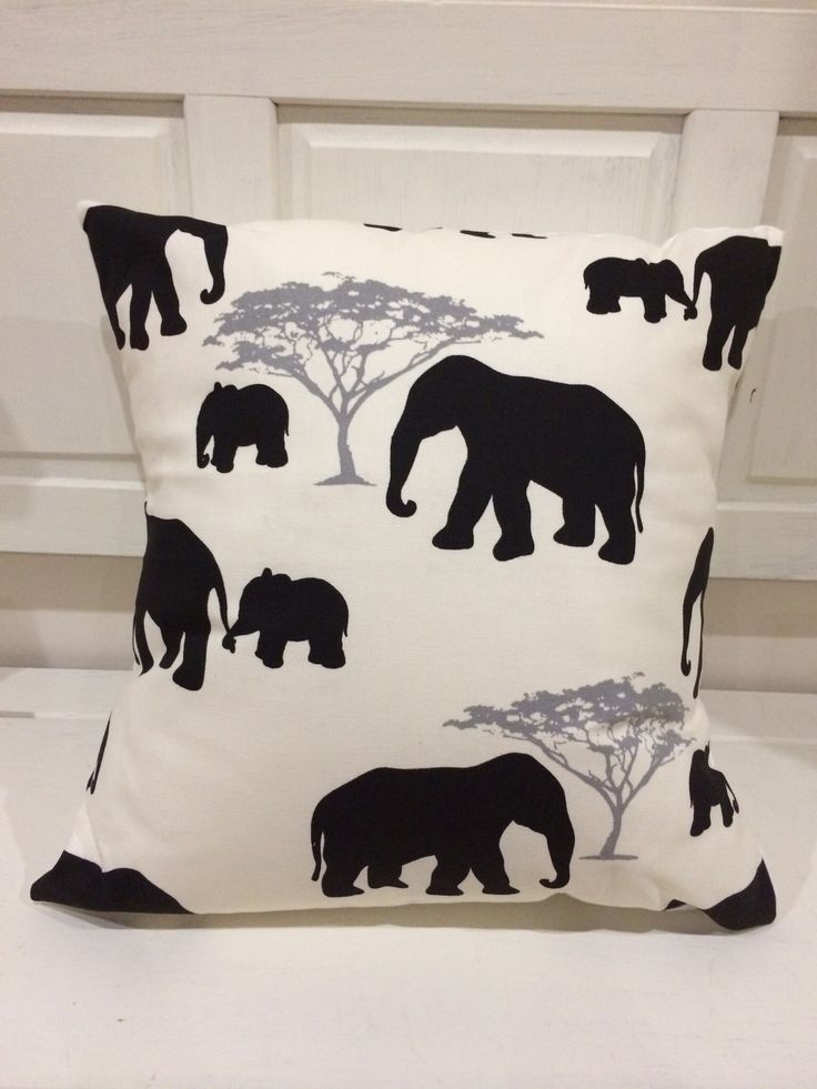 """Gorgeous Black Elephant cushion, complete with coordinating envelope back and lovely fluffy insert. Measuring 16"""" square this is sure to be a super addition to any room"""