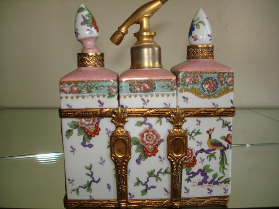 Trio Set of Handpainted Perfume Bottles by StyleJunkieAntiques, $350.00