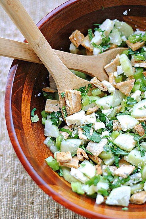 Pita Bread Salad with Cucumber, Feta & Mint