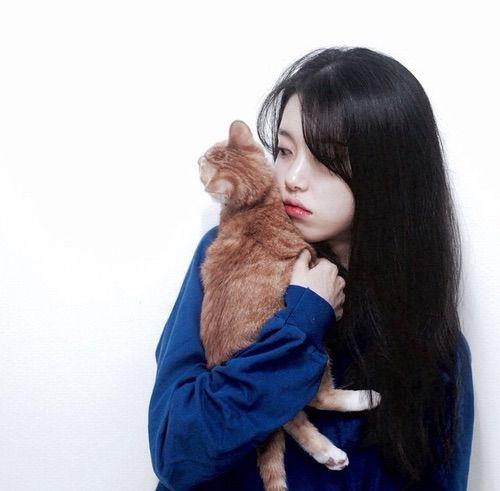 Image via We Heart It https://weheartit.com/entry/162028412/via/7748874 #asian #blue #cat #girl #korean