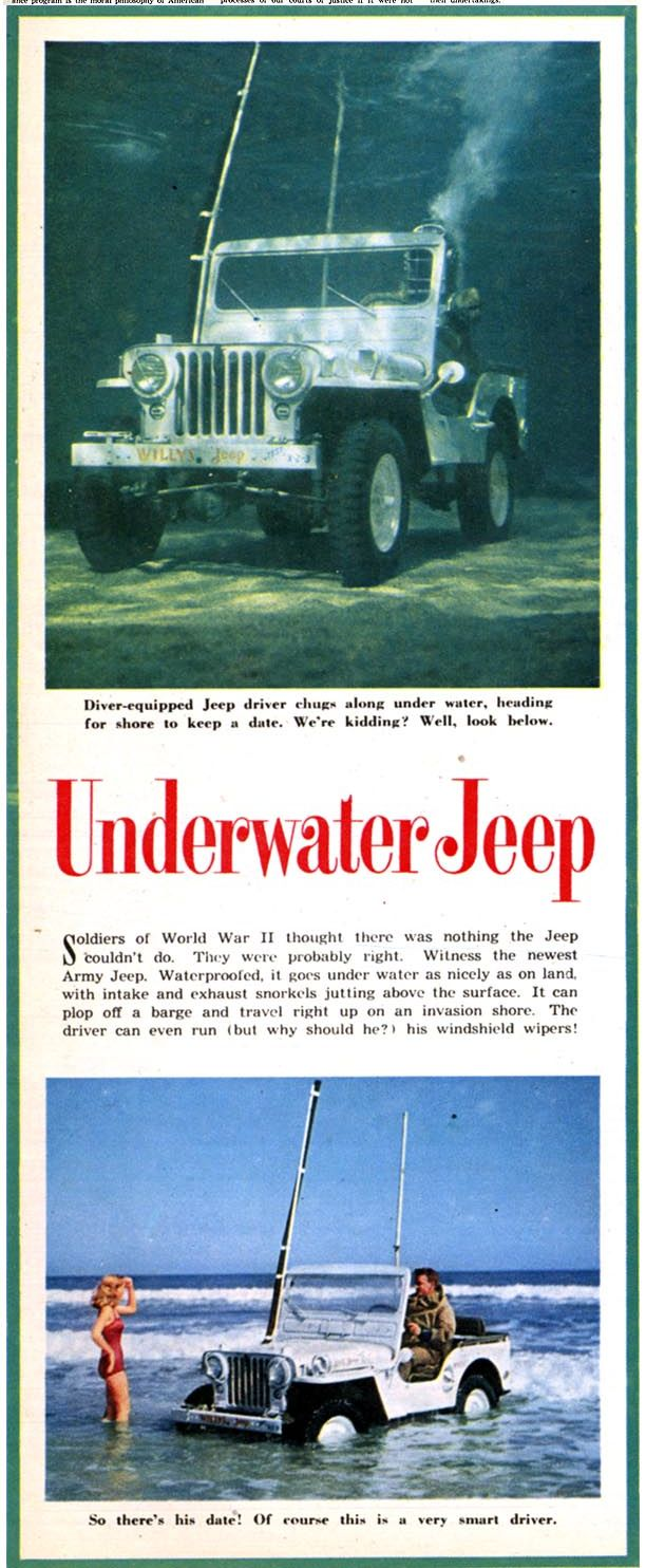 "Sweet CJ-3A ""Underwater Jeep"" article from May 1952 issue of The American Weekly."