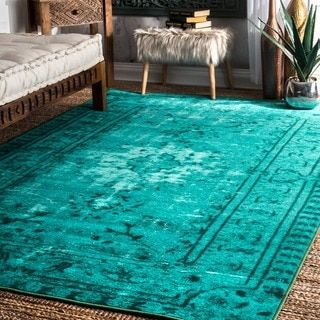nuLOOM Vintage Inspired Adileh Overdyed Turquoise Rug (4' x 6') | Overstock.com Shopping - The Best Deals on 3x5 - 4x6 Rugs