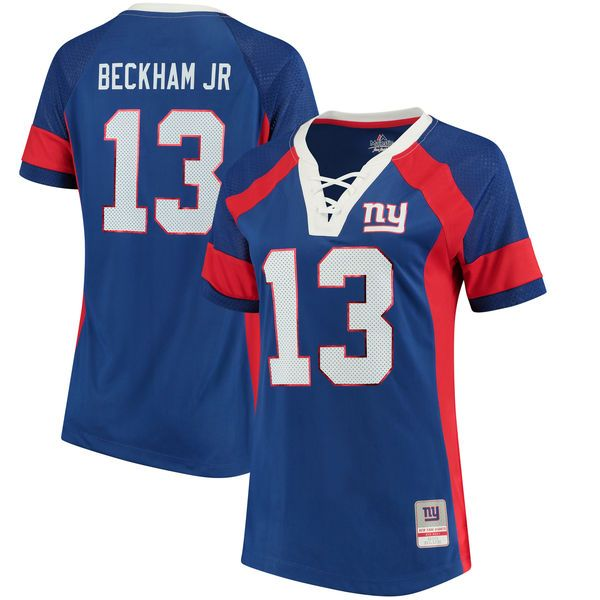 Women's New York Giants Odell Beckham Jr Majestic Royal Draft Him Name & Number Fashion V-Neck T-Shirt