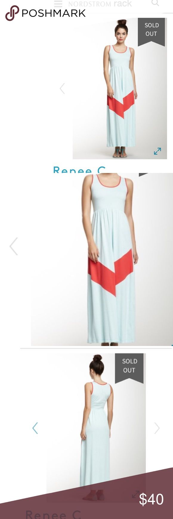 {Reneec}-Nordstrom Rack blue chevron maxi dress👗 Darling Summer Blue maxi dress from Nordstrom rack. Sold out everywhere! Stock pictures don't show the correct blue, so make sure you see all the pictures for best color idea. Size small, worn once for wedding. Smoke/pet free home! Renee C. Dresses Maxi