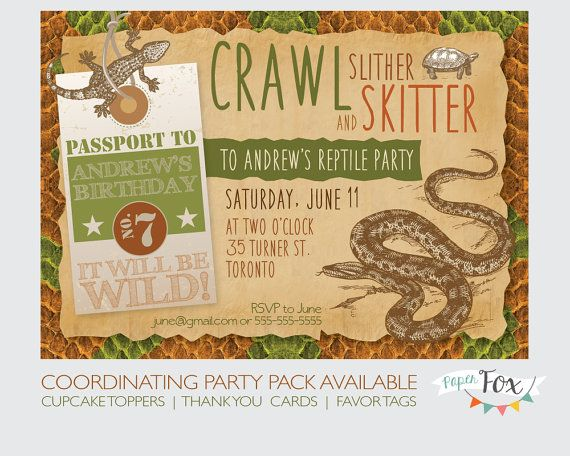 Reptile Birthday Invitation Reptile Party Invitation Reptile