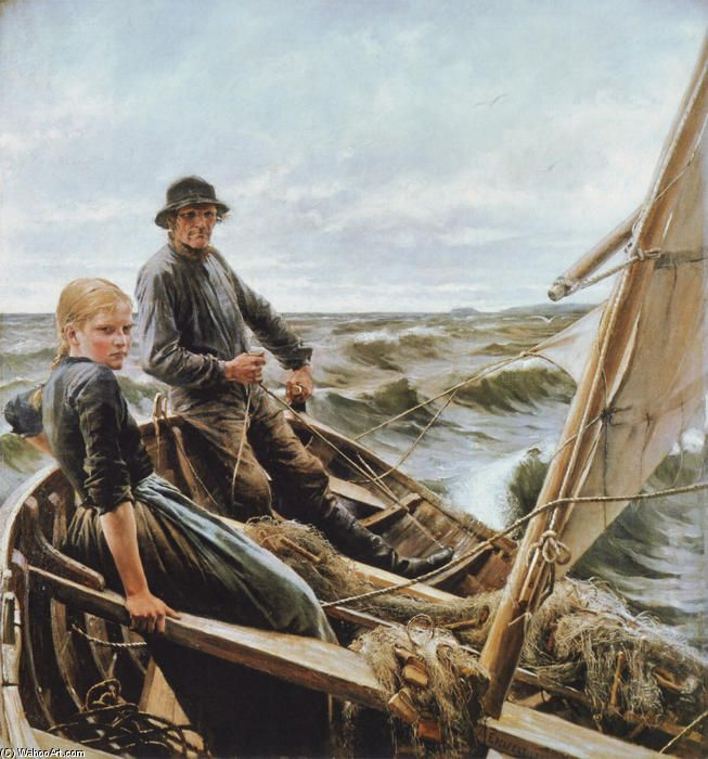 """At Sea"" by Albert Gustaf Aristides Edelfelt (21 July 1854, Porvoo – 18 August 1905)"