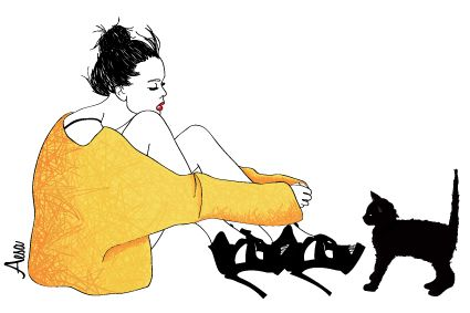 Yellow Girl by Aesa Illustration fashion illustration - cat - drawing - high teels