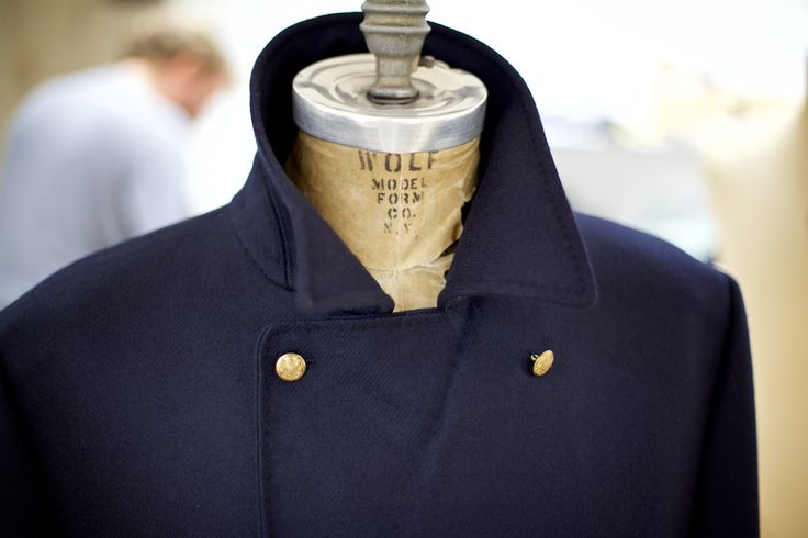 We have 'swelled' the edges and seams of this Naval Pea Coat by prick-stitching with silk twist to accentuate the seam lines.