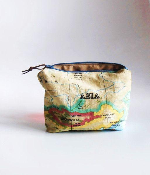 Make-up tassen - Makeup tasje kaart Azie,Europa, grote etui - Een uniek product van MaRose-Edith op DaWanda