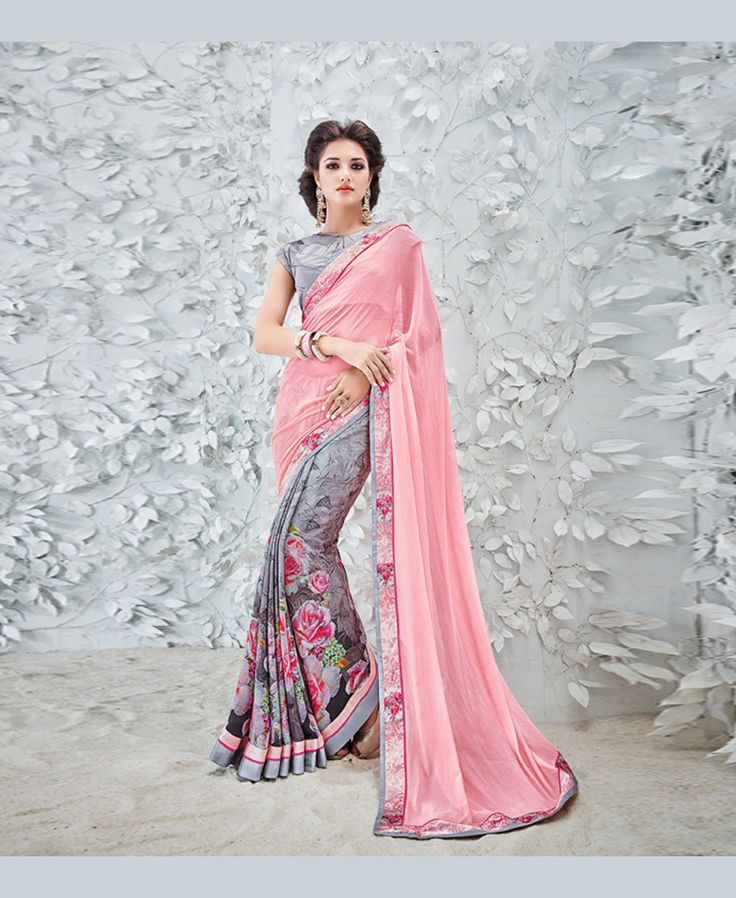 Light Pink Georgette Printed Saree With Blouse 78909