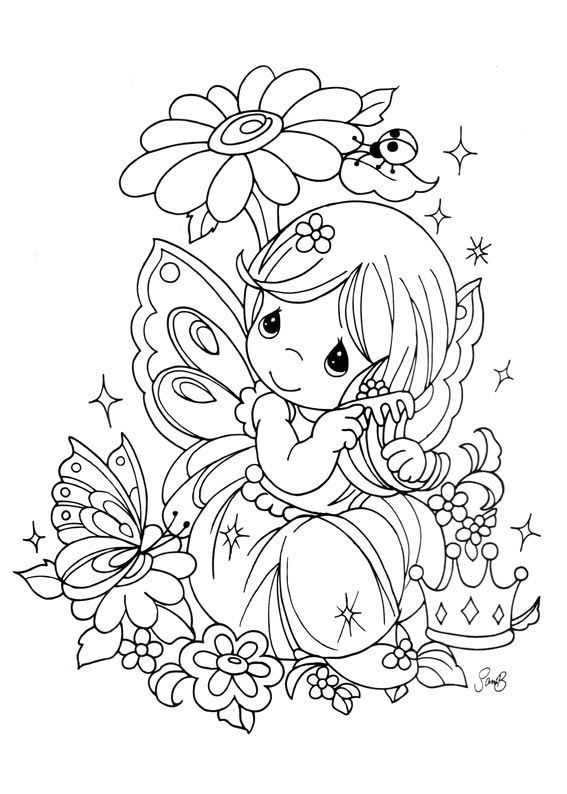 Fairy For Kids Fairy Coloring Page With Few Details For Kids