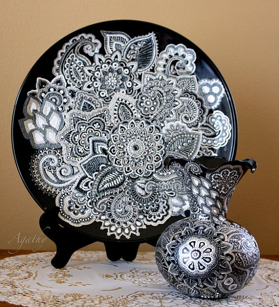 Hand decorated plate Silver homedecor by ArtyAgathy, $385.00