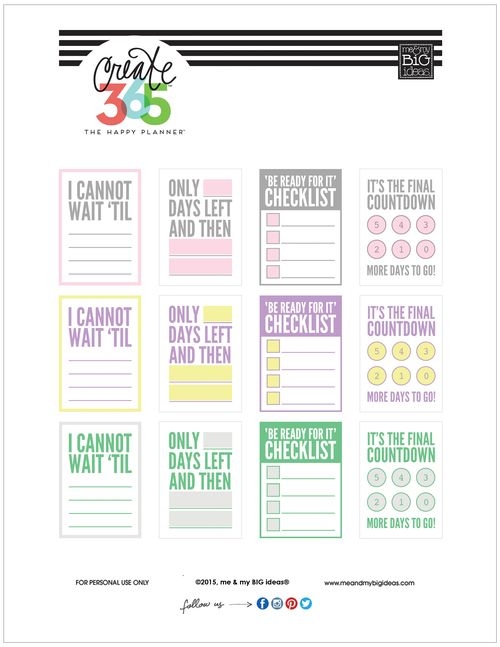 'COUNTDOWN' Free printables for The Happy Planner™ | me & my Big ideas {available in pastel and primary colors}