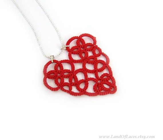 Lace heart pendant Red tatted lace pendant by LandOfLaces on Etsy
