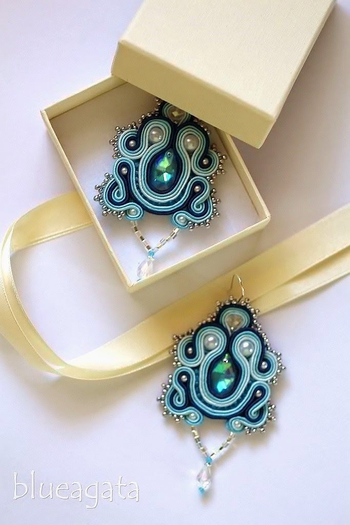 blueagata: Blue cristal - soutache earrings
