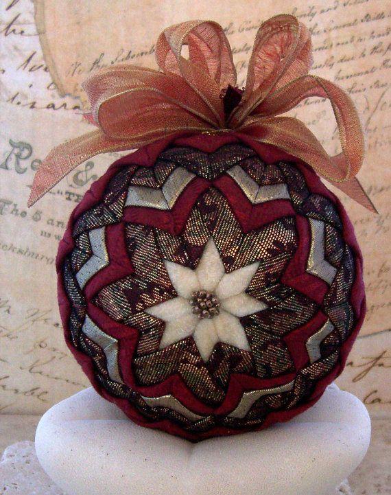 Fabric Ball Ornament Folded Star Gold Ivory Holiday Decoration via Etsy