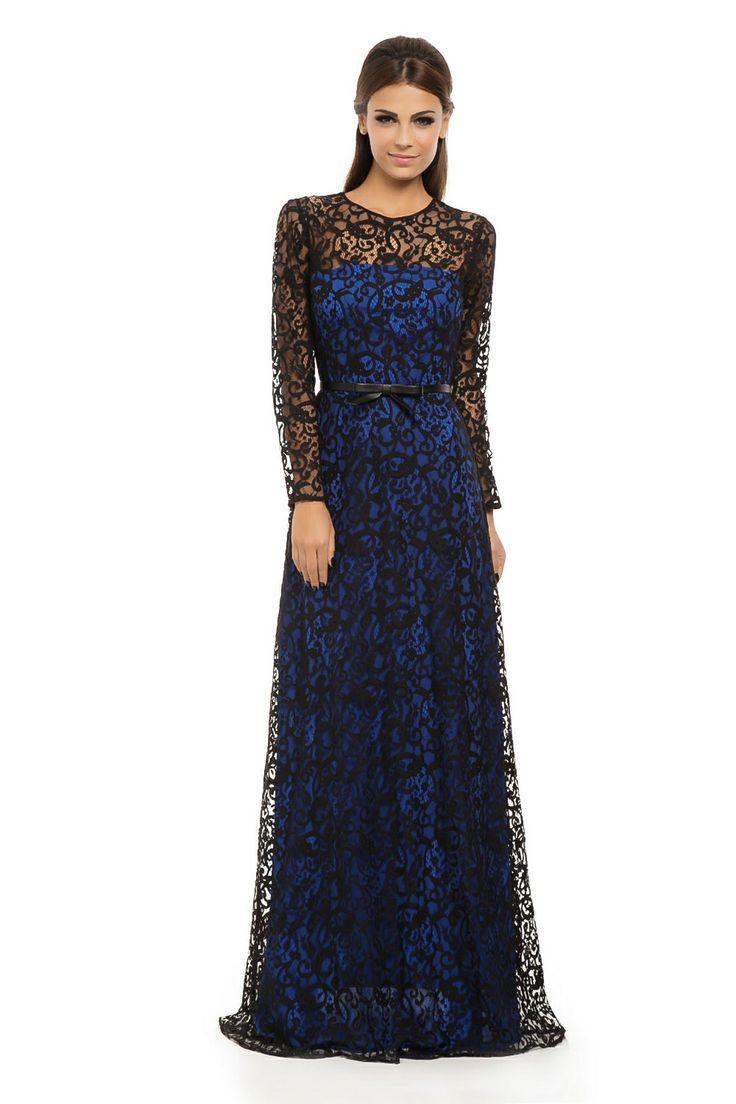 Vestido Longo Renda Laço Azul e Preto - roupas-festas-iorane-f-vestido-longo-renda-laco-azul-e-preto Iorane