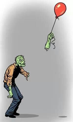 Losing his balloon was disarming and showed him the air of his ways.