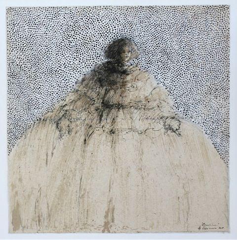 Ménine - Hanna Sidorowicz . 2017 (tech mix. papier marouflé sur toile 160x160 cm)