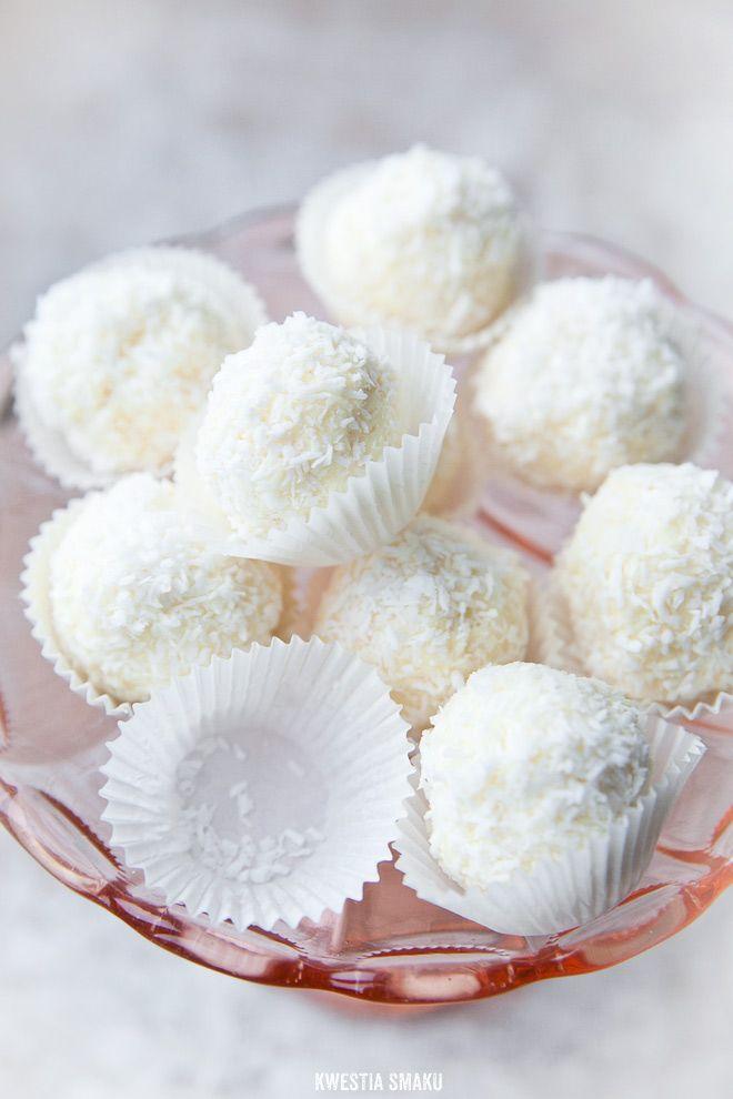 White Chocolate Coconut Truffles with Almond or Hazelnut Surprise | Kwestia Smaku.