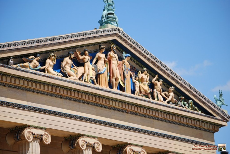 pediment depicting the greek gods & goddesses, commonly found in