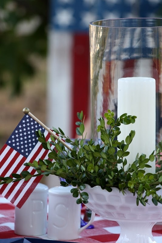 milk glass, boxwood, and white candle in hurricane: American Pride, Red White Blue, Patriots Ideas, 4Th Of July, July 4Th, 4Th July, Milk Glasses, Summer Ideas, Beautiful Tablescapes