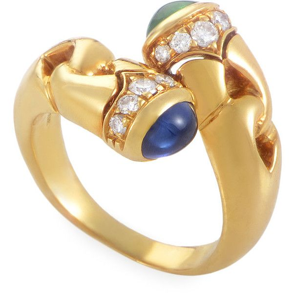 bulgari bvlgari 18k yellow gold precious gemestone crossover ring liked on polyvore