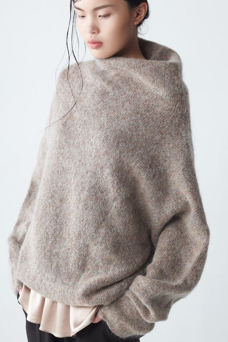 oversized, asymmetrical, mohair sweater