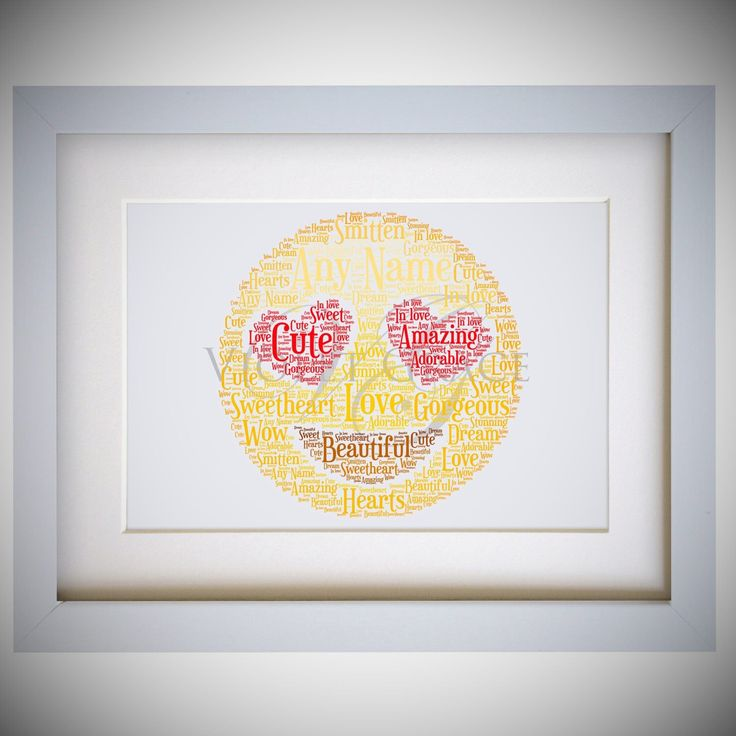 Personalised Love Heart Emoji Face Framed Word Art Gift by VioletGraceUK on Etsy https://www.etsy.com/listing/474468179/personalised-love-heart-emoji-face