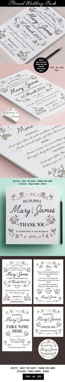 Floral wedding pack #wedding #invites #savethedate #thankyoucard #flowers #vintage #cards
