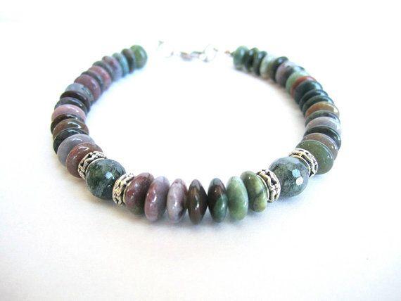 Mens stone beaded bracelet agate stone beaded by Bravemenjewelry