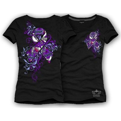 Purple ribbon tee for Pancreatic Cancer, Alzheimer's Disease, Crohn's, Domestic Violence, General Cancer Awareness, Animal Cruelty, Drug Overdose Awareness, Lupus, Fibromyalgia, Cystic Fibrosis, Peripheral Neuropathy, Sarcosis and Sarcoidosis