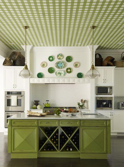 Sufit w kuchni w biało-zieloną kratkę :)