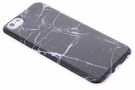 iPhone 6 / 6s hoesje - Zwarte marmer look TPU