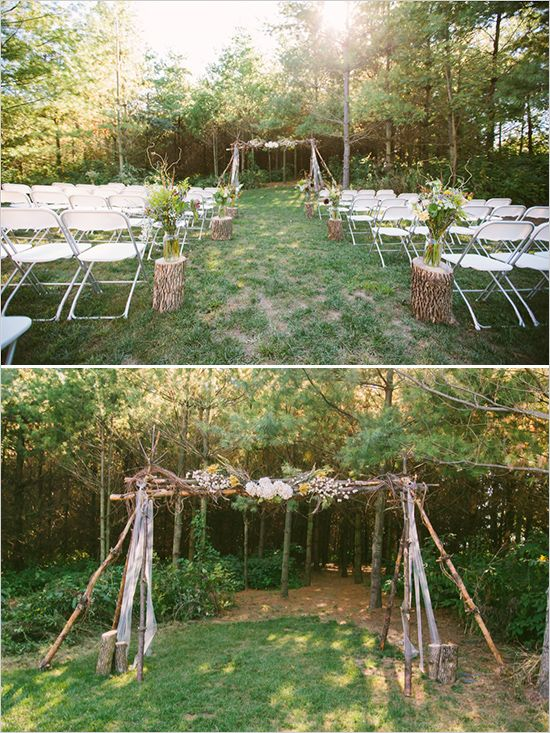 diy wooden ceremony backdrop for outdoor ceremony #weddingceremony #outdoorwedding #weddingchicks http://www.weddingchicks.com/2014/02/20/outdoor-romance-wedding/