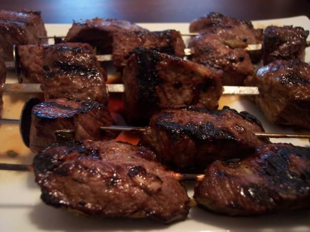 "The Best Marinade for Kabobs! (Beef, Pork and Lamb)  also be used for chicken but because of the vinegar amount marinading time will need to be reduced to a maximum of 6 hours or the acid vinegar will start to ""cook"" the chicken, use only honey no other substitutions!.. you will ..."