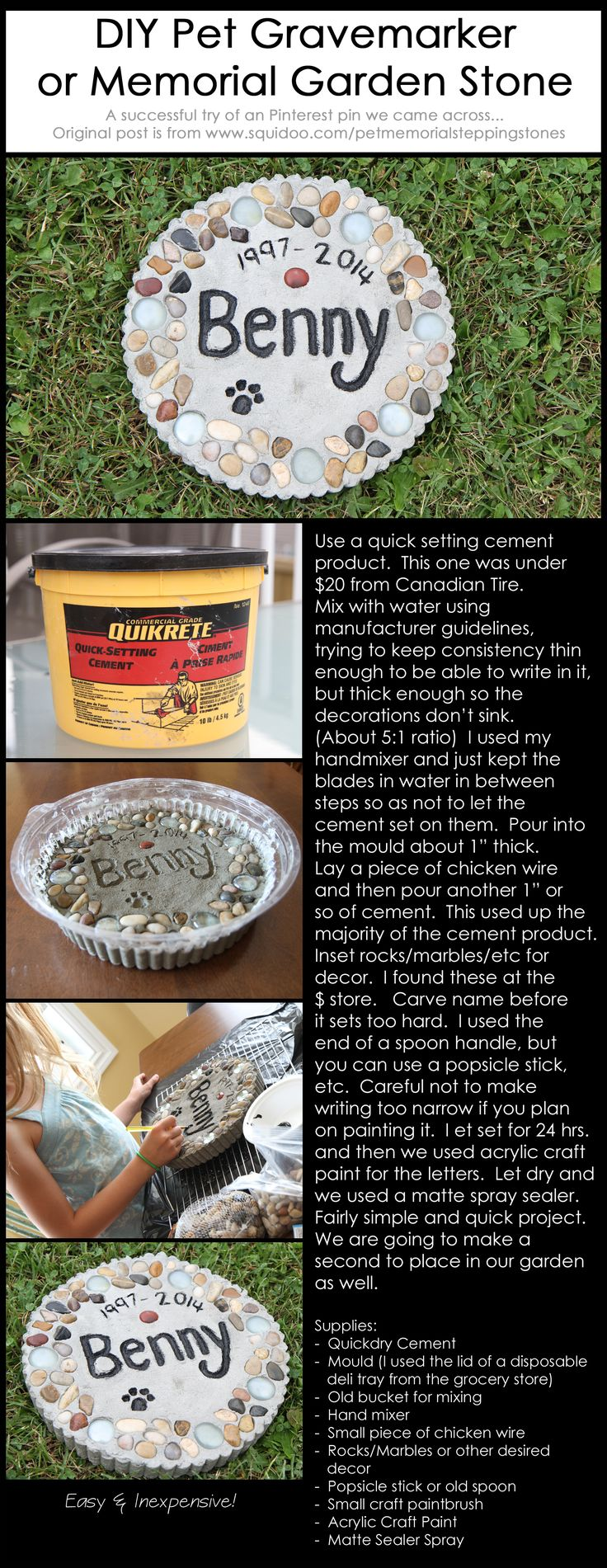 DIY Pet Gravemarker or Memorial Garden Stone. Inexpensive and easy! Original idea post by: www.squidoo.com/... Our family tried this and was pleased with the outcome. Plan on making a second as a Memorial Stone for our garden.