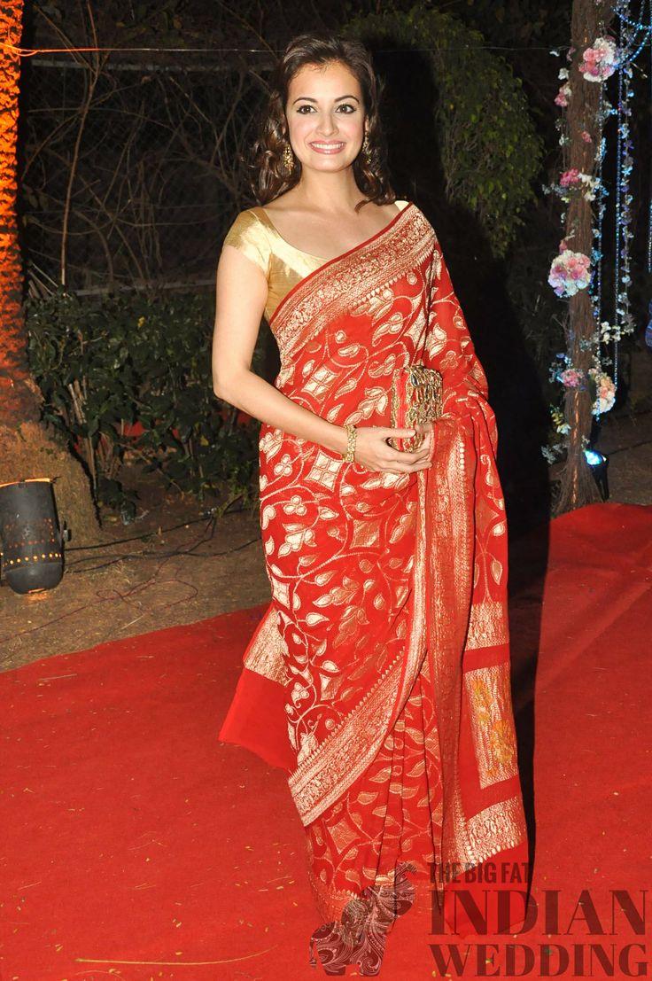 Dia Mirza's red and gold sari - classic!